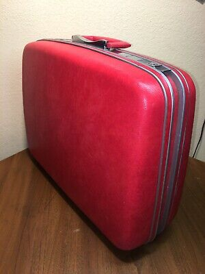 "Vintage Samsonite Silhouette Red  Suitcase Royal Traveller 21x16x7"" With Key"