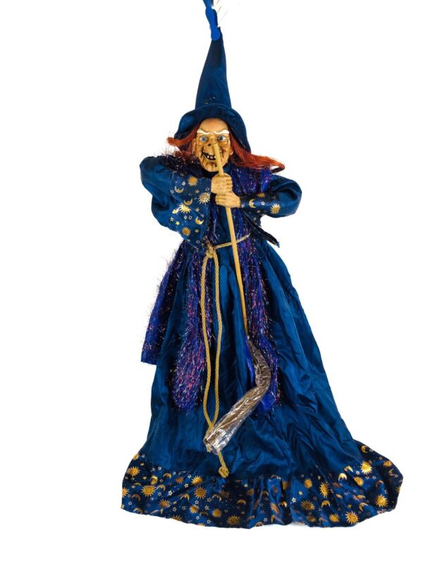 """Large Witch Figure Doll with Broom Old Crone 22"""" Satin Dress Moon Stars Ugly Hag"""