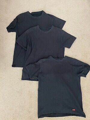 Supreme Clothing Brand Tagless Hanes Black T-Shirt 3 Pack - Size Small