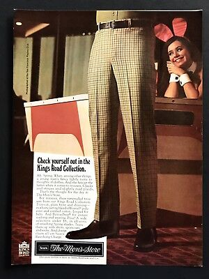 1969 Vintage Ad 60's Style SEARS Men's Store Slacks Pants Fashion Woman Bunny