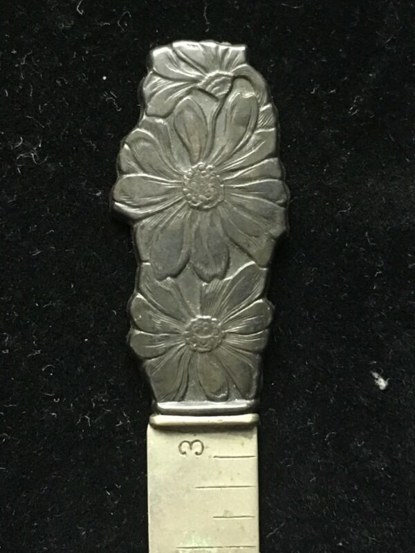 Antique HEM GAUGE Daisies Floral Sterling Silver by Webster - Daisy Top Finial