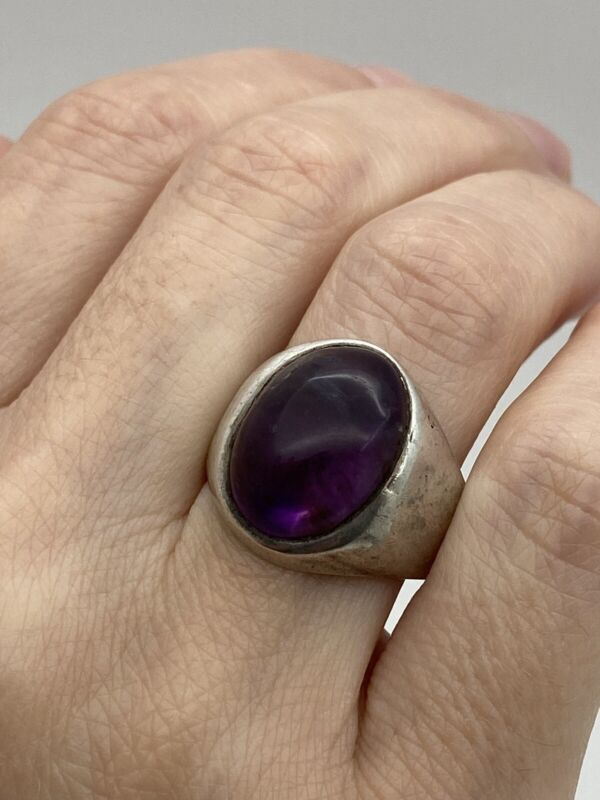 925 vintage sterling silver Handmade Amethyst Stone Mexico Ring Size 9.5