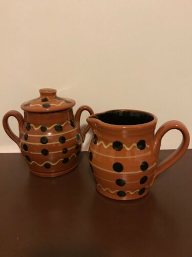 Rowe Pottery Museum Of American Folk Art Collection Sugar Jar & Creamer Set 1993
