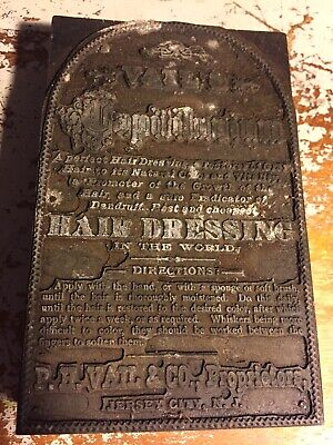 Wood Printing Letterpress Printers Block Antique Advertising Vails Hairdressing