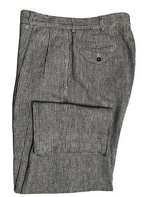 Polo Ralph Lauren Men's Lenin Blend Pleated Pants 32 x 27 Black Gray Plaid EUC