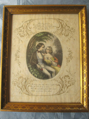 RARE Gorgeous c.1840s Framed Valentine with Gilt Floral Designs and Poem