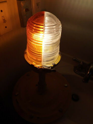 ORANGE / CLEAR GLOBE HOME WIRED VINTAGE MAN CAVE AIRPORT RUNWAY TAXIWAY LIGHT