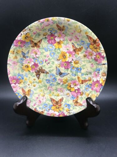 Vintage WADE HEATH Chintz FLORAL BUTTERFLY Round Cereal Bowl - Not Reproduction