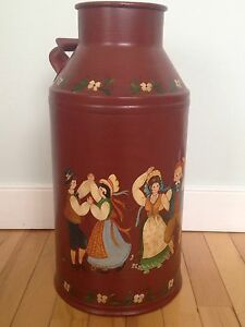 Old Cream Can with Folk Art Painting