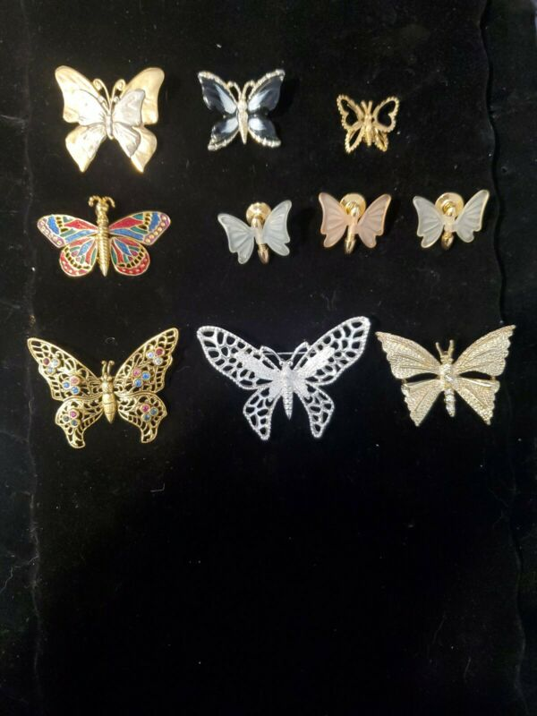 Butterfly Brooches- Lot of 10 - Monet, Sarah Coventry, Premier Designs, Unmarked