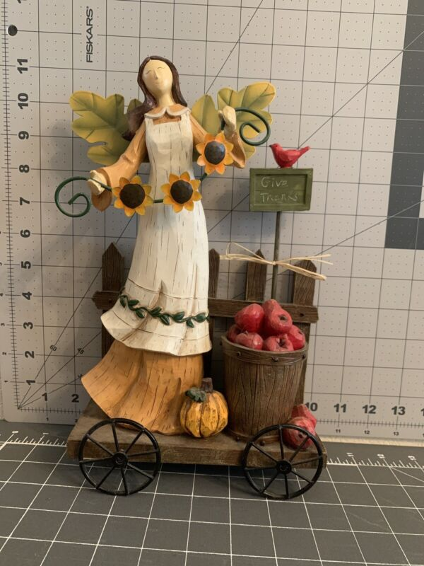 Give Thanks Resin Angel With Apples, Sunflower, And Pumpkin