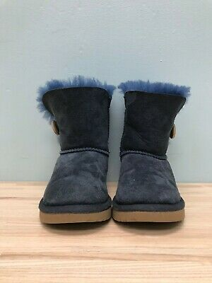 Ugg Boots Shearling Kids Size 10 Girls Blue Button Shoes