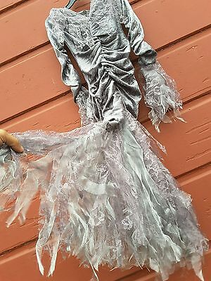 witch costume fallen Angel grey size 6 dress enchanting silver fantasy gown lace](Girls Fallen Angel Costume)
