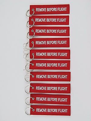 PACK OF 10 White/Red Remove Before Flight Keychain Aviation Tags Rings