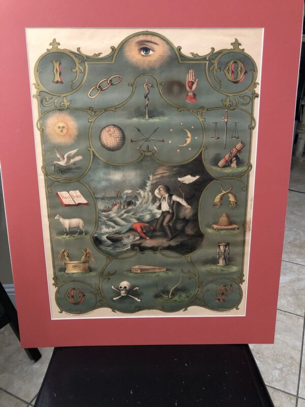 Antique Independent Order Of Odd Fellows Degree Chart Litho