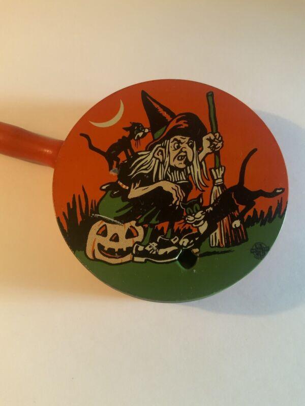 Vintage Halloween Noisemaker Witch Black Cats Moon Jack O Lantern U.S. Metal Toy