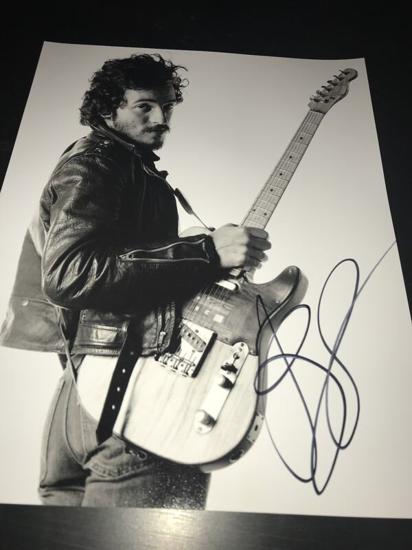 BRUCE SPRINGSTEEN SIGNED AUTOGRAPH 11x14 PHOTO BORN TO RUN GUITAR IN PERSON COA