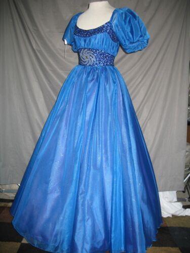 Victorian Edwardian Civil War Fantasy Princess Sparkling Royal Blue Dress Gown S