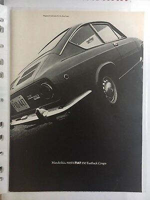 1968 Fiat 850 Fastback Coupe Vintage Print Ad