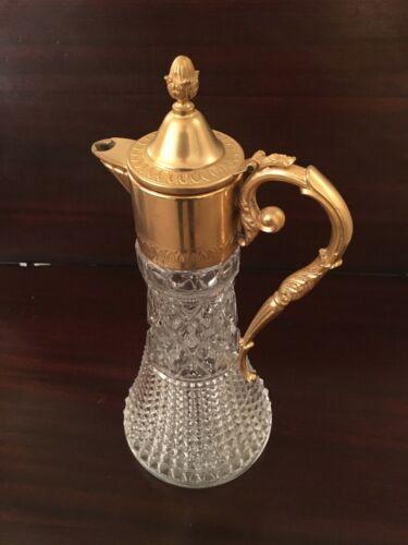 Godinger Fine Crystal Wine Carafe w/ Gold Tone Top