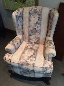 Floral wing back chair.  Like new