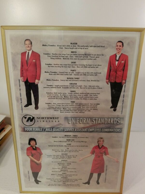 "Vintage NWA Northwest Airlines Uniforms Standards Poster 11""x17"" RARE!"