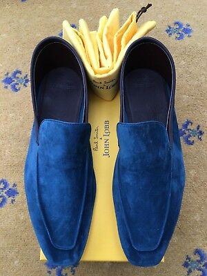 New John Lobb Paul Smith Men Shoe Blue Suede Loafer UK 11 US 12 EU 45 Slipper
