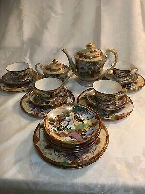 Collectable Teas Dessert Plate - Kutani Japanese Tea Set 21 Pieces Includes Dessert Plates