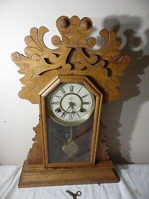 Waterbury Antique Wall Shelf Mantel Clock Solid Carved Oak Chime Windup 22.5 USA