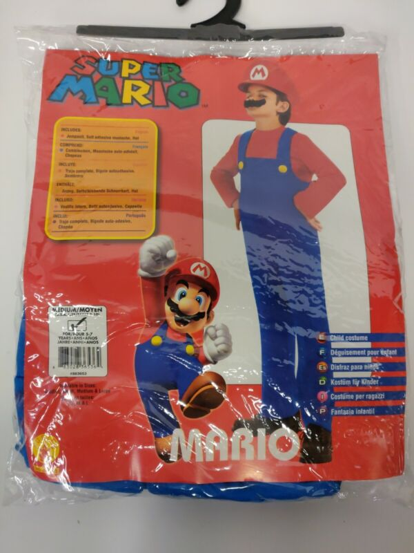 Super Mario Halloween Costume 5 6 7 Years  kids new complete