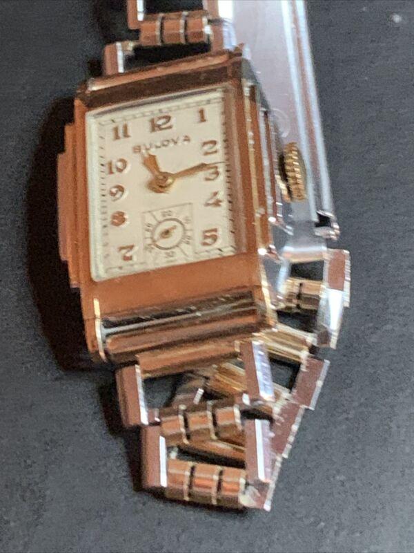 Vintage Mens Deco Bulova 15J 10AN Two Tone 10K GF Hinged Case Serviced Running