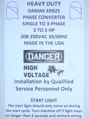 Heavy Duty 3-5 HP Static Phase Converter 208-250VAC 50/60Hz Mill Drill Saw USA