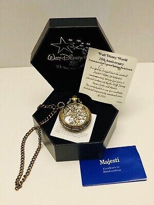 Walt Disney World 25th Anniversary Pocket Watch By Majesti #3688/5000 W/ COA