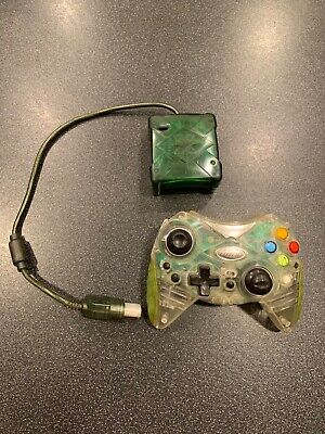 Wireless Original Xbox Intec Clear Controller w/ Green Receiver Tested Works  Intec Wireless Receiver
