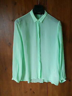 ZARA SHIRT TOP Pastel Green Longline Blouse Chiffon M L XL / UK 12 14 16 - NEW