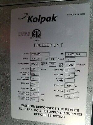 Kolpak Walk-in Freezer Cooling Units