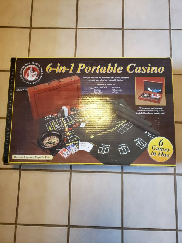 Brand New Excalibur Electronics 6 in 1 Portable Casino Set LARGE SIZE FELTED