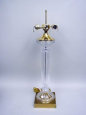 24% Lead Crystal Brass & Crystal Table Lamp by Crystal Clear With Label Crystal Clear Crystal Table Lamp