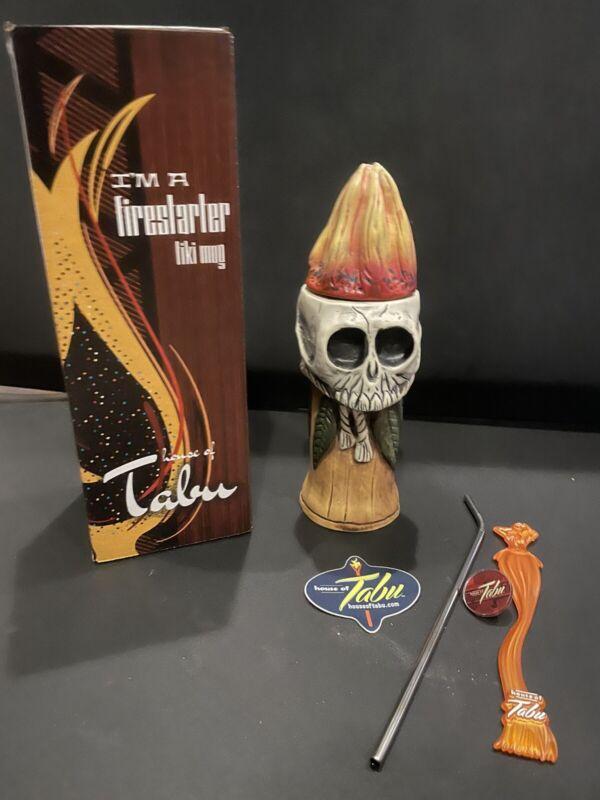 NEW House of Tabu Tiki Mug Firestarter Ceramic Lid Straw Skull + Extras