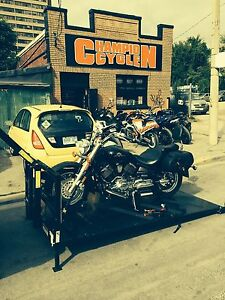 Classic motorcycle towing