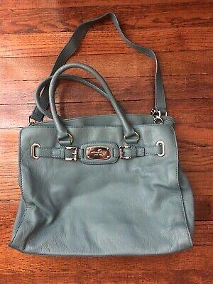 MICHAEL KORS Hamilton Dusty Blue Leather Tote Shoulder Bag Purse