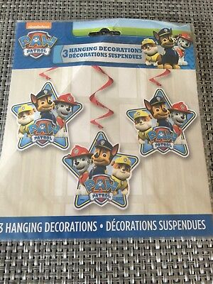3 Paw  Patrol Swirl Hanging Decorations Ceiling Dangler Birthday Party Supplies