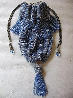 Antique Art Deco Ice Blue Tan Knit Crochet Drawstring Ball Tassel Flapper Purse