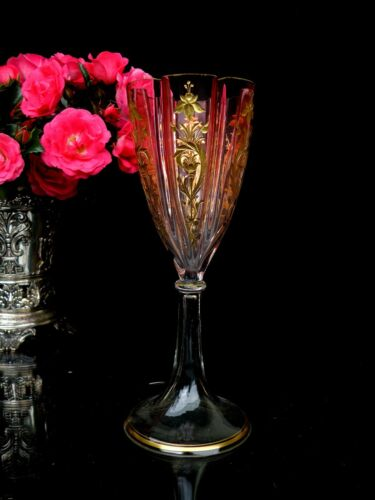 Moser Fabulous Antique Wine Glass Carved Cranberry and Gilded