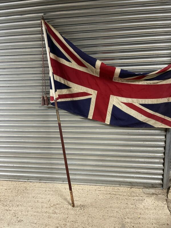 Large Vintage Union Jack Flag With Pole