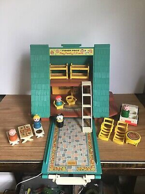 Vintage 1974 Fisher Price Little People 990 Play Family A Frame House Complete