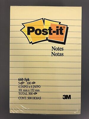 Post It Notes 4 X 6 Lined Canary Yellow Pack Of 5 Pads