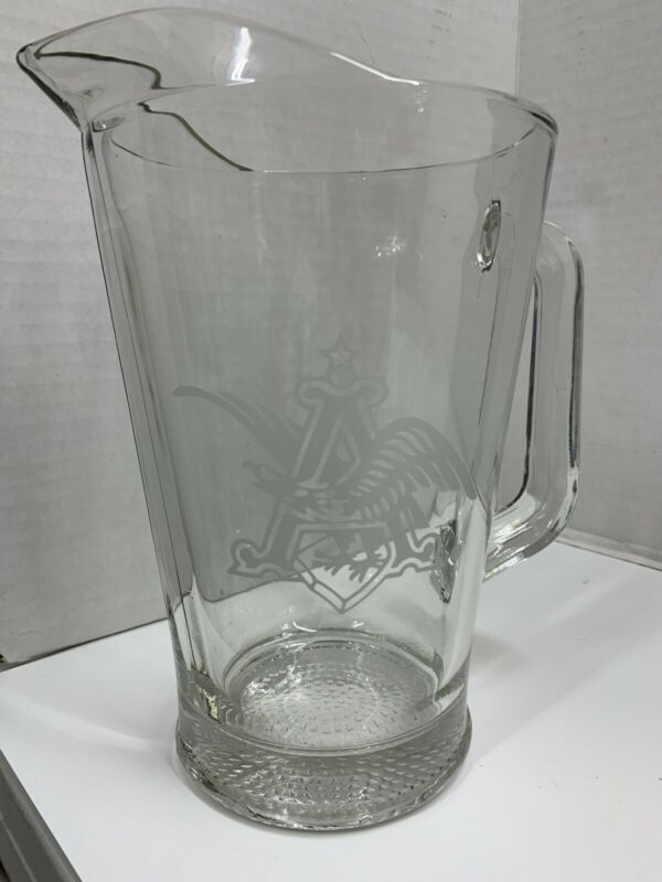 "Anheuser Busch Beer Pitcher Etched Eagle Emblem Heavy Glass 48 oz. 10"" Tall"