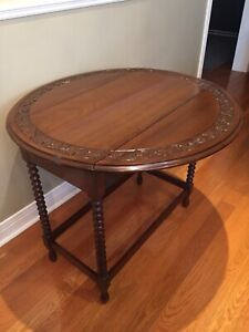 Antique Table - Hall Console - Drop Leaf- Walnut Carved