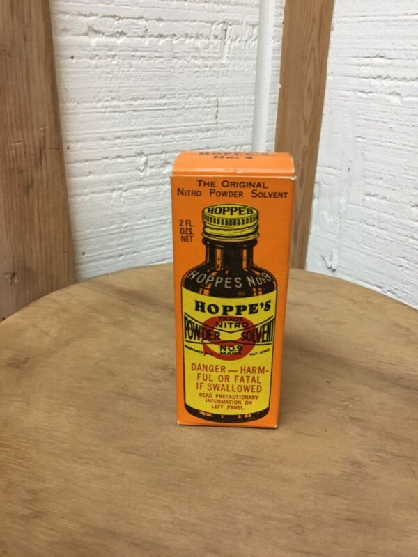 Vintage 1948 Hoppe's Nitro Powder Solvent No 9 Full Glass Bottle